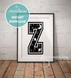 NURSERY LETTER Z Print, Letter Z, Letter Z Print, Letter Z Decor, Alphabet, Nursery Decor, Letter Z Nursery, Nursery Art, Nursery Alphabet by AmberstoneDesign on Etsy Typography Art, Lettering, Black And White Printer, Printer Types, Nursery Letters, Photo Store, Amber Stone, Etsy App, As You Like