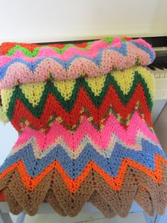 Vintage, Hand Crocheted Throw, Chevron Afghan
