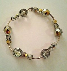 Handmade Crystal Silver Beaded Metallic Bracelet By Dopedollvintage On Etsy