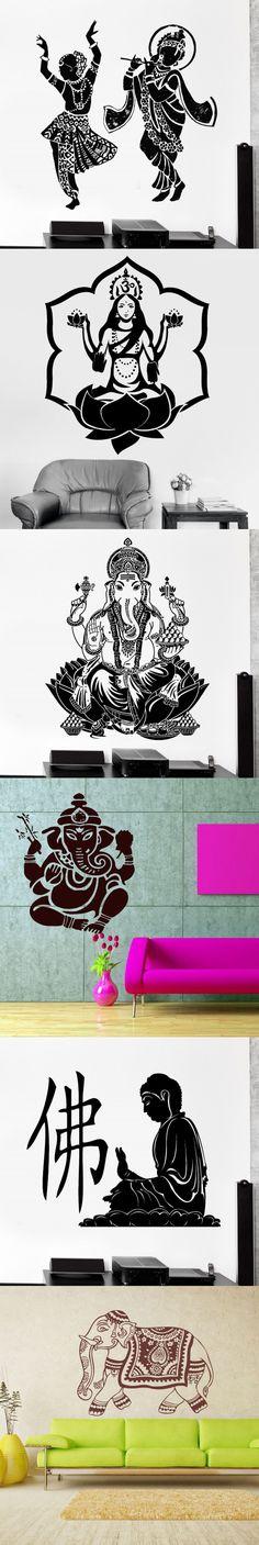 Cheap Indian Buddha Dance Hinduism Wall Decal Home Decor Elephant Ganesh Buddhism India Namaste Buddha Om Yoga Wall Stickers $14.89