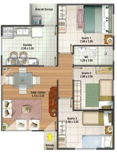 planos de casas sencillas de 3 habitaciones - Buscar con Google