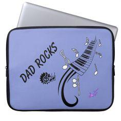 """Dad Rocks"" Music & Keys Laptop Case 15"" Customizable! #laptopcase #computeraccessories #dadrocks #dad #FathersDay #moondreamsmusic #music #keyboard #musician"