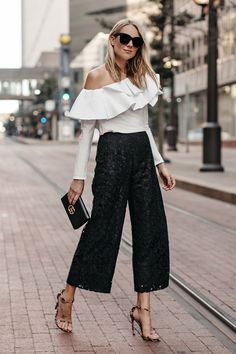 Blonde Woman Wearing White One Shoulder Ruffle Top Black Lace Culottes Gucci Marmont Handbag Leopard Heels Fashion Jackson Dallas Blogger Fashion Blogger Street Style