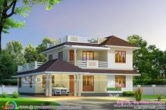 Cute sloping roof house 2680 square feet House Roof Design, Flat Roof House, 2 Storey House Design, Simple House Design, Bungalow House Design, Indian House Plans, House Design Pictures, Beautiful House Plans, Model House Plan