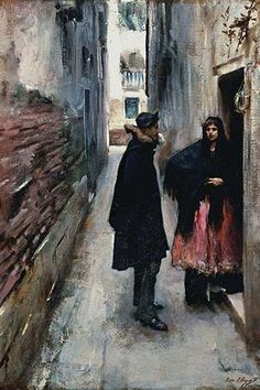 "A Street in Venice. John Singer Sargent (January 12, 1856 – April 14, 1925) was an American artist, considered the ""leading portrait painter of his generation"" for his evocations of Edwardian era luxu"