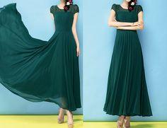 Summer Dark Green Splice Chiffon  Maxi Dress  Wedding Short Sleeve Full Pleated Skirt Cocktail Prom Holiday Ball Gown Party Dress