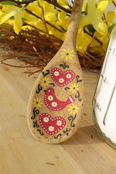 Hand Painted Wooden Spoon Traditional by JoyfulCreationsArt. We love this folk art design against the bare wood. Painted Spoons, Painted Rocks, Hand Painted, Spoon Art, Wood Spoon, Wooden Spoon Crafts, Wood Crafts, Hobbies And Crafts, Arts And Crafts