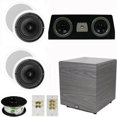 "5.1 Home Theater 6.5"" Speaker Set with Center, 12"" Powered Sub and More TS65CC51SET6 by Theater Solutions. $376.99. Specifications4 TS65C In Ceiling/Wall Speakers6.5"" Woven Kevlar Driver with 32-20,000 Hz Range200 Watts RMS and 400 Watts Max per pair92dB SensitivityCeiling Cut Out Size is 7.875""Overall Measurement is 9.5""Mounting Depth is 2.875""1 C1 Bookshelf Center Channel100 Watts RMS and 200 Watts MaxSensitivity is 91dB with 70-22,000 Hz Frequency ResponseBi..."