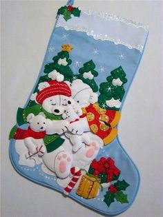 "This wonderful Christmas Stocking called ""POLAR BEAR FAMILY"" is made of felt…"