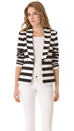 Alice + Olivia Strong Shoulder Striped Blazer in White (black) - Lyst 0f3a0be9b9a51