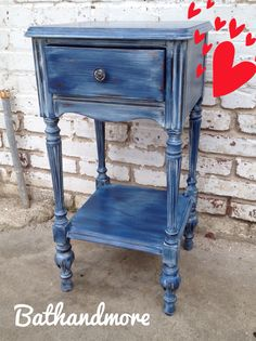 Dewayne painted this cute night stand for a customer using Napoleonic Blue with a wash of Old White Chalk Paint®. #napoleonicblue #bathandmore #bamlodi #chalkpaint #anniesloan