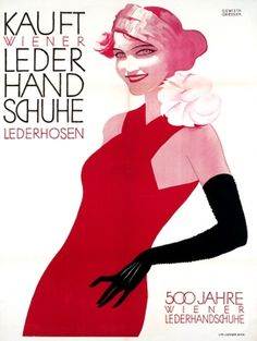 Leather Gloves Lady Art Deco Vienna, 1930s - original vintage poster by Franz Anton Griessler listed on AntikBar.co.uk