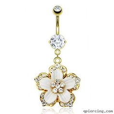 14K gold plated belly ring with dangling jeweled flower  http://qpiercing.com/belly-button-rings/14k-gold-plated-belly-ring-with-dangling-jeweled-flower-1143970.html