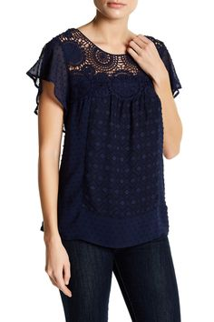 Flutter Sleeve Crochet Shirt (Petite) by Daniel Rainn on @nordstrom_rack