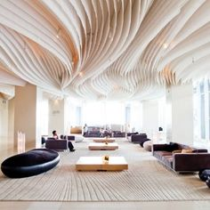 Amazing ceiling - Hilton Pattaya: Hilton Pattaya's interiors in Thailand was designed by Bangkok's Department of Architecture. The main lobby and bar is… Fabric Ceiling, Ceiling Decor, Ceiling Design, Lobby Design, Design Hotel, Design Suites, Modern Entryway, Entryway Decor, Entryway Lighting