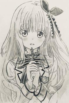 Anime One, Anime Chibi, Manga Anime, Cute Girl Illustration, Blonde Anime Girl, Drawing Sketches, Drawings, Anime Sketch, Art Club