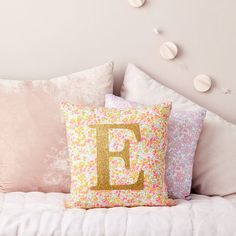 Liberty Wiltshire Neon Glitter Initial Cushion