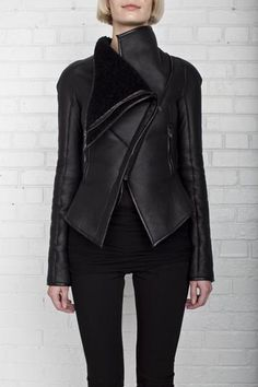 GARETH PUGH, ASYMMETRIC SHEARLING JACKET: this over burberry any day.