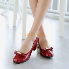 Hot Women's Patent Leather Mid Heel Europe Bowknot Round Toe Plus Size Shoes