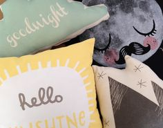 Cushion love! Freya 'hello sunshine', Juniper Wilde mountain and cloud baby cushions, and a moon man Für Neil bag. A lovely order going out to a customer today!