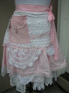 Pink Lace Aprons Handmade Bridal Aprons Vintage by AnniesAttic