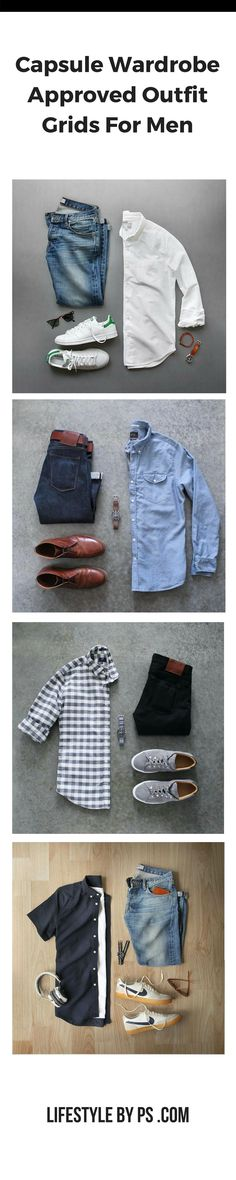 8 Capsule Wardrobe Approved Outfit Grid For Men Capsule Wardrobe Outfit Grids For Men. Mode Outfits, Casual Outfits, Men Casual, Fashion Outfits, Dress Casual, Fashion Clothes, Smart Casual, Summer Outfits, Casual Jeans