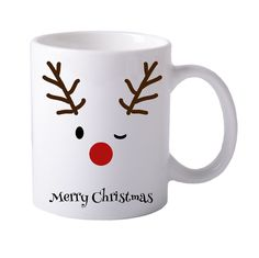 Bedruckte Tasse (Rudolf) Merry Christmas, Mugs, Tableware, Design, Birthday, Gifts, Merry Little Christmas, Dinnerware, Merry Christmas Love