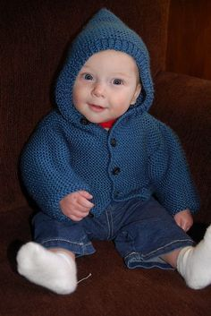 Free knitting pattern for Storybook Baby Hoodie -   Hoodie cardigan in baby and child sizes from Lion Brand Yarn. All pieces are worked flat in garter stitch (knit every row). Sizes: Newborn, 3–6 months, 12–18 months, 2 years, 4 years