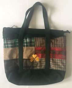 Wool Patchwork Bag Tote Green Plaid Clover Spade Purse Carryall Poly Lined | eBay