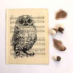Snowy Owl Screen Print On Vintage Sheet Music at Not On the High Street, great gifts!