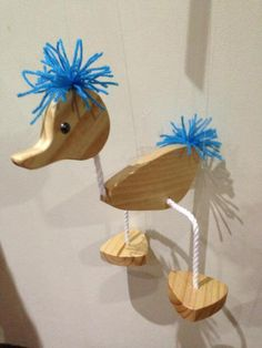 Puppet - Walking Duck Marionette with Blue Hair Wood Crafts, Diy And Crafts, Crafts For Kids, Arts And Crafts, Marionette Puppet, Puppets, Fun Projects, Wood Projects, Dremel Carving
