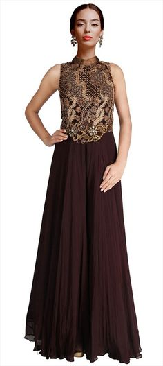 Ball gown turns Party gown for parties and weddings. If you like it, order now!  #IndianWedding #SalwarKameez #wine #partywear #indianfashion #anarkali #bridalwear #bride #onlineshopping #brown