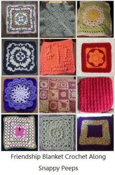"""We are making a Snappy friendship blanket. 4 FREE block patterns are chosen each month (two 6"""" and two 12""""). You make whichever ones you want. It's fun trying different patterns and seeing all of the creations."""