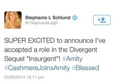 so Stephanie Schlund (THG: Catching Fire; she played Cashmere) has accepted a role in Insurgent (Divergent's sequal), as someone Amity - she didn't say. Who do YOU think she'll play? Divergent Characters, Divergent Hunger Games, Divergent Trilogy, Divergent Insurgent Allegiant, He Chose Me, Tris And Four, Fandoms Unite, Book Tv, Catching Fire