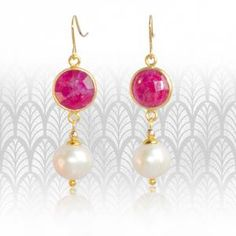 Regenz Ruby and Pearl Retro Style Earrings Brand New Stone Jewelry, Retro Fashion, Retro Style, Drop Earrings, Jewels, Sterling Silver, Antiques, Pearl, Gold