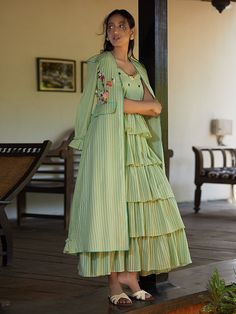 Choli dress - Buy Pista Green Hand Embroidered Cotton Mul Jacket Whatsapp us for more info and order on 8004838566 Indian Designer Outfits, Indian Outfits, Designer Dresses, Stylish Dresses For Girls, Casual Dresses, Fashion Dresses, Dresses Dresses, Cotton Dresses, Bridal Dresses