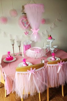 Pink Princess Tulle Party Decorations, Chair Skirt, Cake Skirt, Wreath, Chandelier, Garland,  Crown Accent