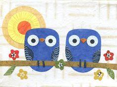 Nursery Art - Blue Owlets on a Branch by kateendle on Etsy, $20.00