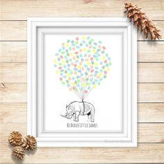 Rhino Fingerprint Balloons Guest Book for Baby Shower Kid's Birthday -Digital Printable Personalized Print - Rhinoceros thumbprint guestbook