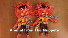 Rainbow Loom Animal from the muppets ( MarloomZ Creations) Loom Bands Designs, Loom Band Patterns, Rainbow Loom Patterns, Rainbow Loom Creations, Rainbow Loom Bands, Rainbow Loom Charms, Loom Bracelet Patterns, Rainbow Loom Bracelets, Loom Band Animals