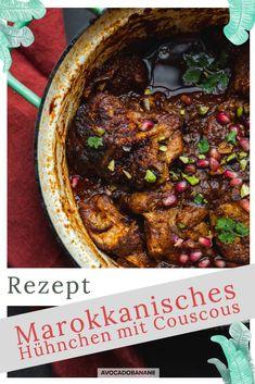 Marrokanisch inspiriertes Hühnchen mit Couscous - AvocadoBanane Harissa, Avocado, Food Inspiration, Beef, Banana, Dried Apricots, Easy Meals, Chef Recipes, Food Food