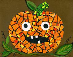 """love that some of the mosaic pieces are candy corns! that artist woman: Halloween Mosaics and """"Mastering Mosaics"""" Giveaway Deco Porte Halloween, Halloween Art Projects, Theme Halloween, Halloween Arts And Crafts, Fall Art Projects, School Art Projects, Fall Crafts For Kids, Halloween Activities, Art Activities"""