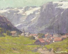 Landscape in switzerland Artwork by Edgar Alwyn Payne Hand-painted and Art Prints on canvas for sale,you can custom the size and frame