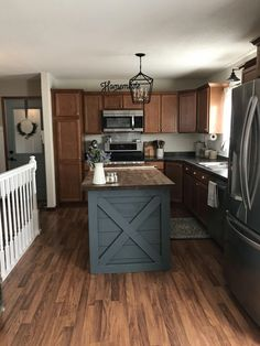 Are you searching for inspiration for farmhouse kitchen? Browse around this site for unique farmhouse kitchen images. This unique farmhouse kitchen ideas appears to be completely wonderful. Diy Kitchen Island, Farmhouse Kitchen Cabinets, Farmhouse Style Kitchen, Kitchen Redo, Rustic Kitchen, New Kitchen, Farmhouse Decor, Farmhouse Stairs, Painted Kitchen Island