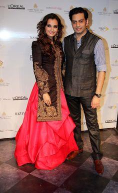 Dia Mirza with designer, Raghavendra Rathore