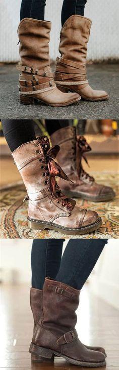 Vintage Adjustable Buckle Boots Plus Size Back Zipper Boots Hot Sale!Vintage Adjustable Buckle Boots Plus Size Back Zipper Boots Crazy Shoes, Me Too Shoes, Buckle Boots, Combat Boots, Vestidos Vintage, Cute Boots, Vintage Boots, Sock Shoes, Winter Boots