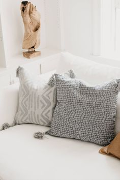 Check out these two light grey decorative pillows with soft patterns that evoke nature elements with a luxury down insert! #homedecor #pillow #pillows #homedecorideas #livingroom #sofa #couch Light Gray Couch, Grey Couches, Simple Prints, Luxury Home Decor, Upholstered Furniture, Cotton Pillow, Home Decor Inspiration, Decor Ideas, Soft Furnishings
