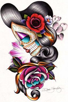 Sad Girl by Dave Sanchez Low-brow Art Sugar Skull Figures Tattoo Art Print   eBay