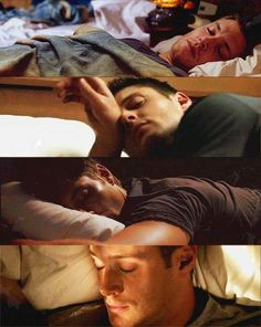 Dean sleeping. This is how you know you've crossed over to obsession; you start pinning/liking/looking at pictures of your favorite characters while they're sleeping. Oh yeah. I'm obsessed.