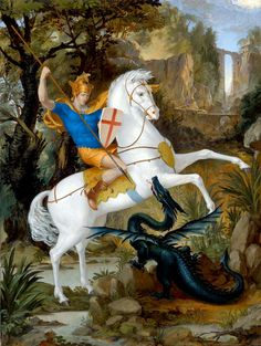 St. George and the Dragon Archival Giclée on Canvas by Leonard Porter
